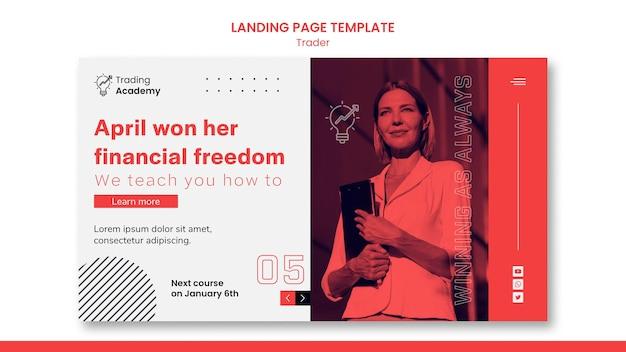 Landing page für den beruf des investmenthändlers