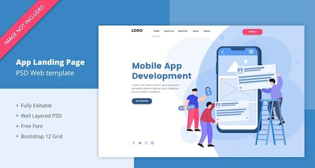 Landing page für die entwicklung mobiler apps