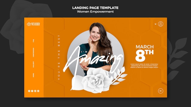 Landing page für empowerment von frauen mit ermutigendem wort