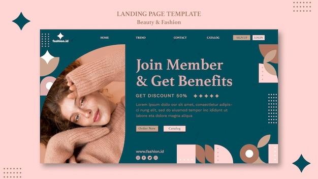 Landing page für frauenschönheit und mode