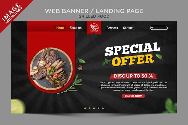 Landing page für gegrillte lebensmittel oder web-banner-serie