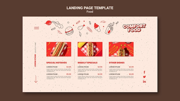 Landing page für hot dog comfort food
