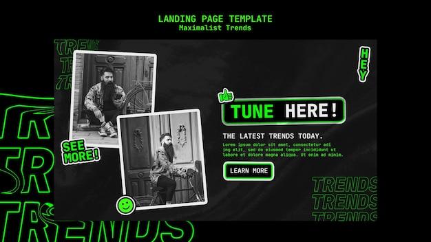 Landing page für maximalistischen trend