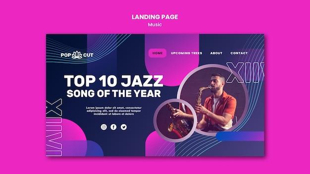 Landing page für musik mit männlichem jazzspieler und saxophon