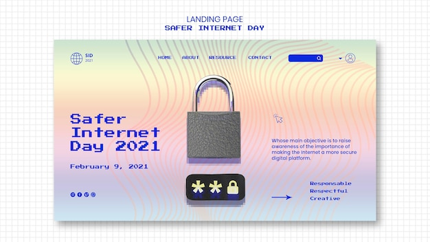 Landing page für sichereres tagesbewusstsein im internet