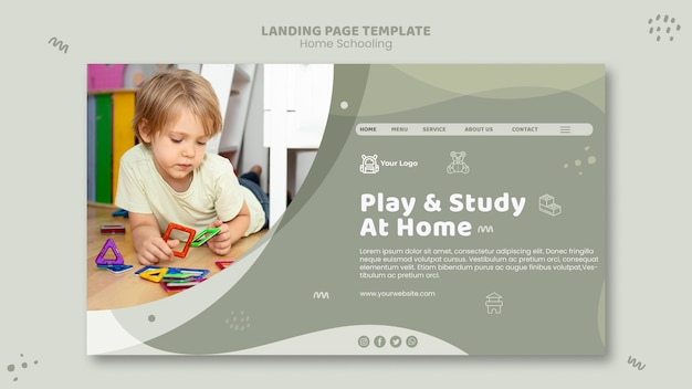 Landing page home schooling vorlage
