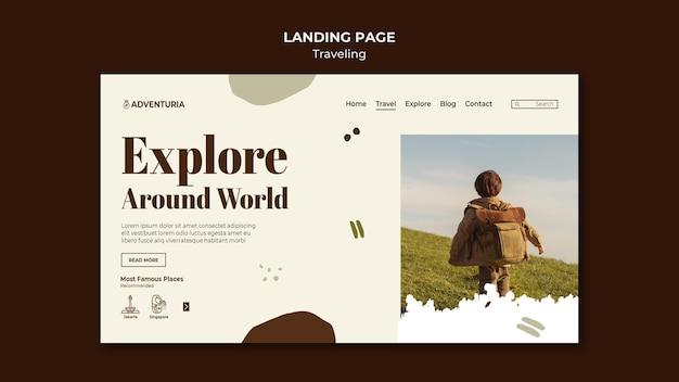 Landing page mit reisendem reisenden kind