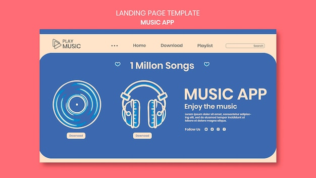 Landing page musik app vorlage