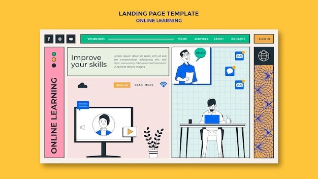 Landing page online-lernvorlage