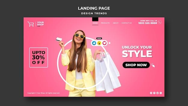 Landing page shopping frau vorlage