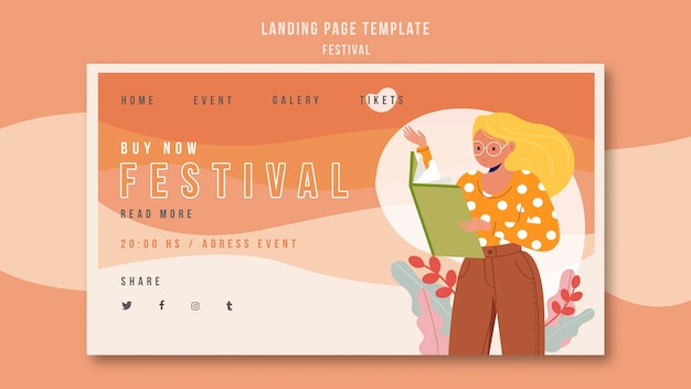 Landing page template festival anzeige