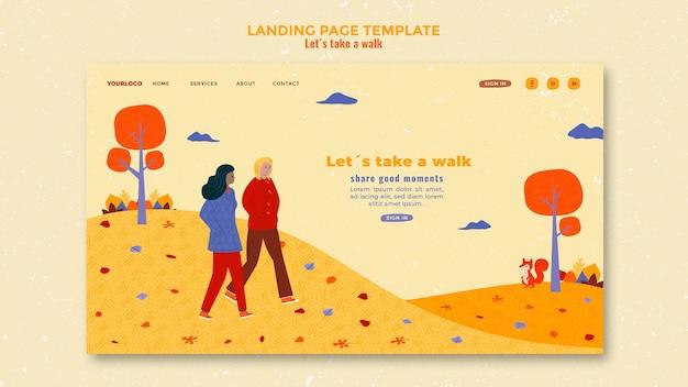 Landing page walk in der naturvorlage
