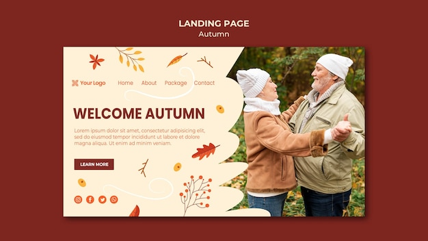Landing page zur begrüßung der herbstsaison
