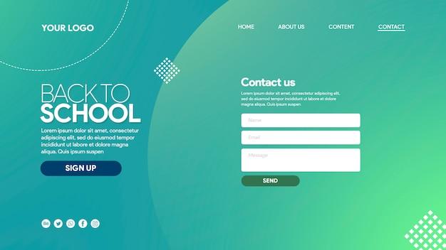 Landing page zurück in die schule farbenfroh mit elementen
