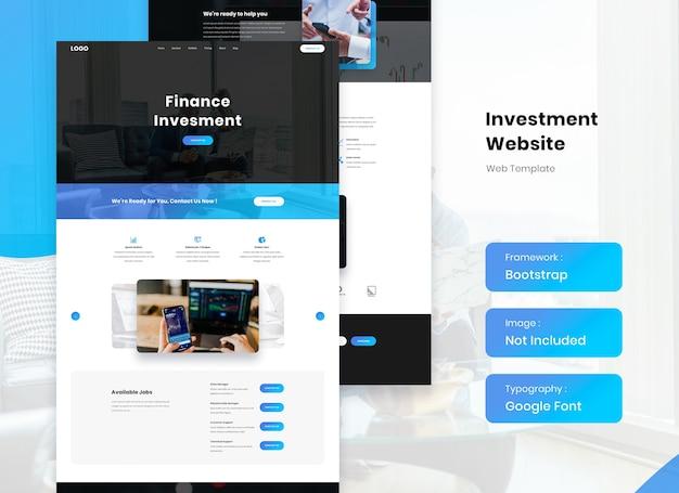Landing template design für finanz- und investitionswebsites
