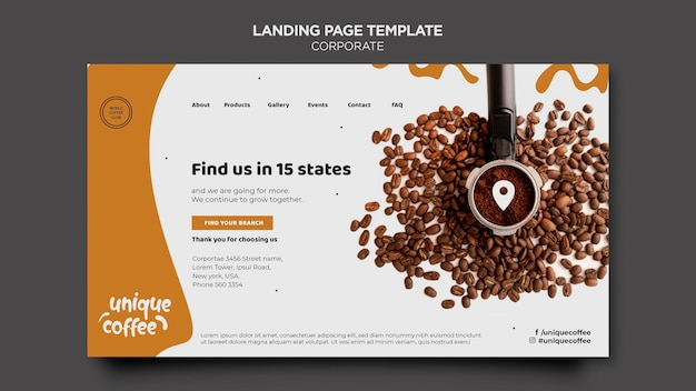Landingpage coffee shop vorlage