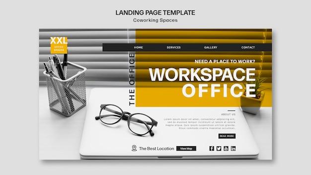 Landingpage coworking büroraum vorlage