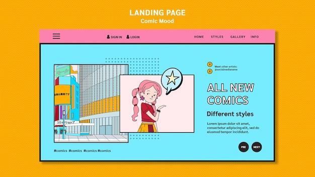Landingpage der comic-designvorlage