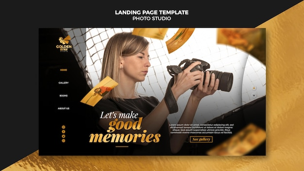 Landingpage der fotostudio-vorlage