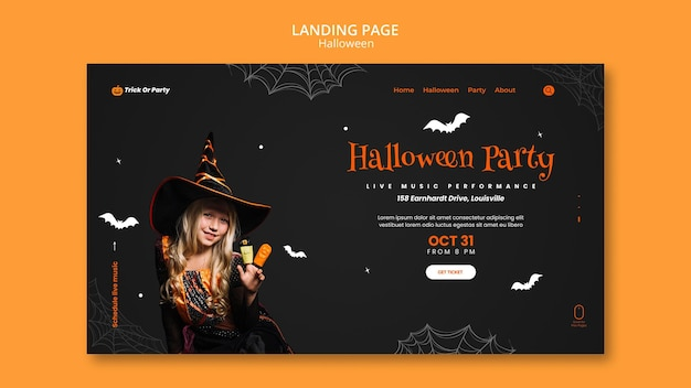 Landingpage der halloween-party