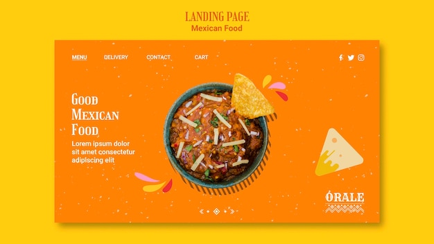 Landingpage der mexikanischen lebensmittelvorlage