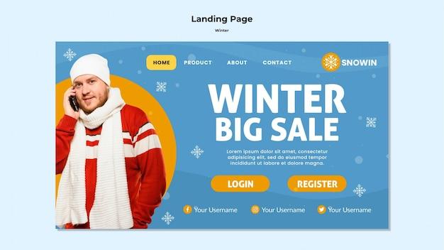 Landingpage der winterfamilienzeitvorlage