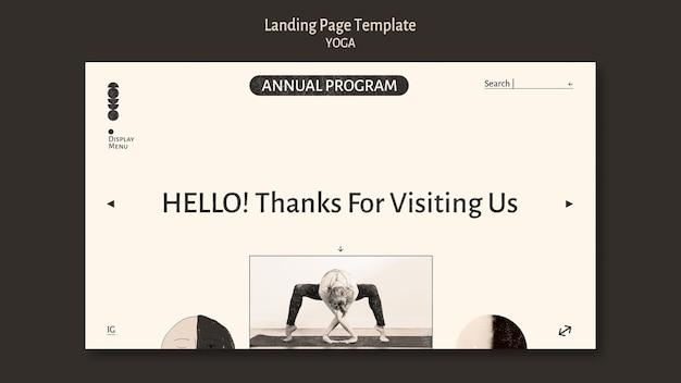 Landingpage des farblosen designs des yoga-programms