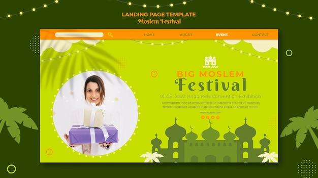 Landingpage des großen muslimischen festivals