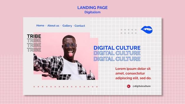 Landingpage des jungen mannes der digitalen kultur