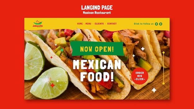 Landingpage des mexikanischen restaurants