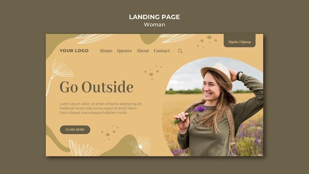 Landingpage-design der frau im freien