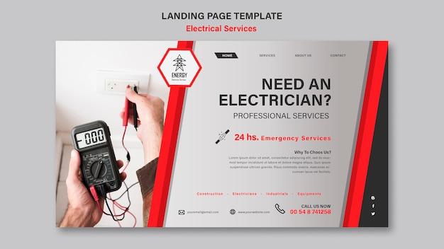 Landingpage-design für elektrische dienstleistungen