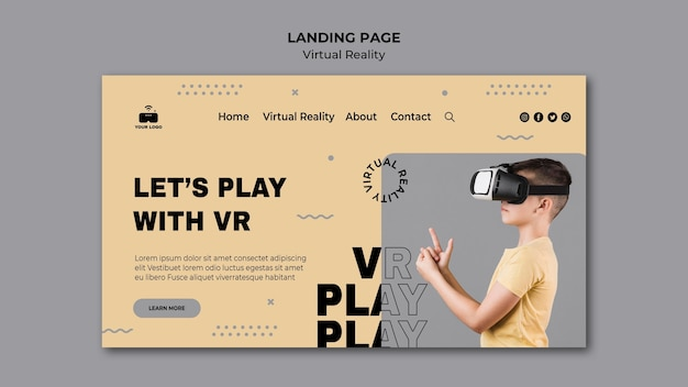 Landingpage-design für virtuelle realität
