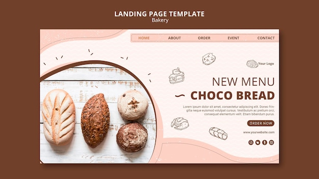 Landingpage für bäckereigeschäft Kostenlosen PSD