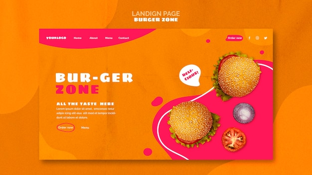 Landingpage für burger restaurant