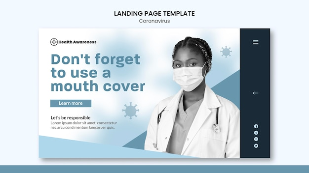 Landingpage für coronavirus-pandemie