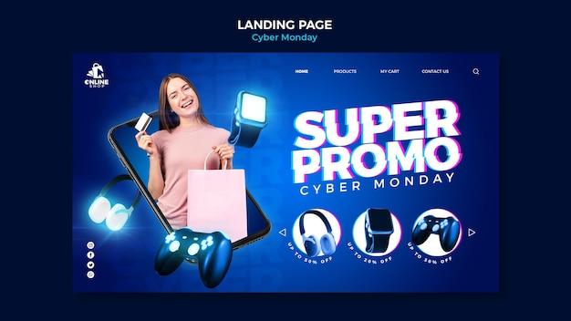 Landingpage für cyber montag mit frau und gegenständen