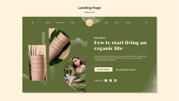 Landingpage für das organische leben