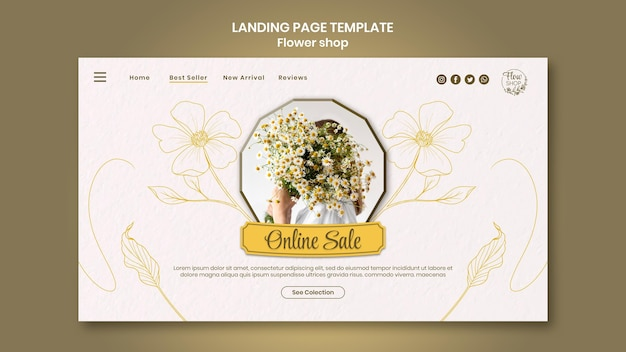 Landingpage für den online-verkauf von blumengeschäften
