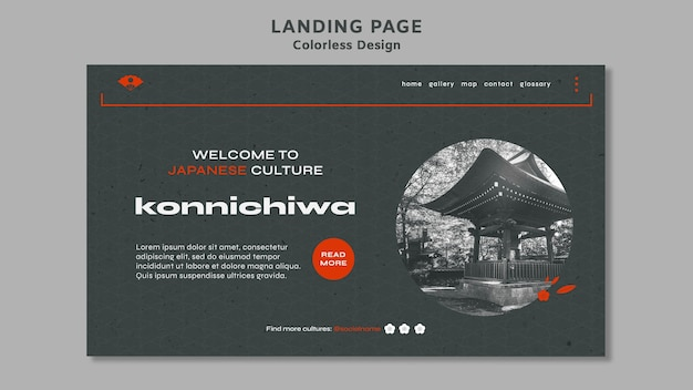 Landingpage für farbloses design