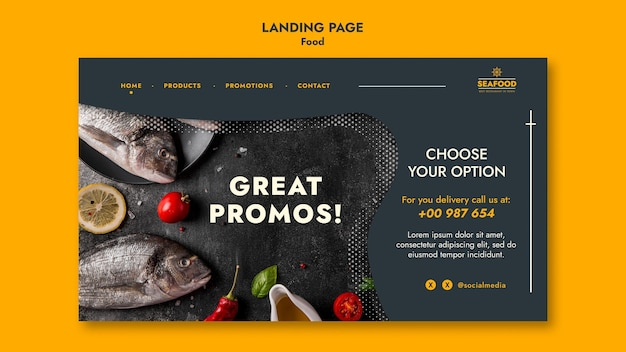 Landingpage für frische meeresfrüchte