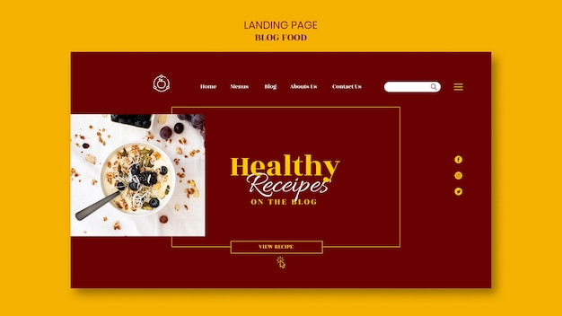 Landingpage für gesunde lebensmittel rezepte blog