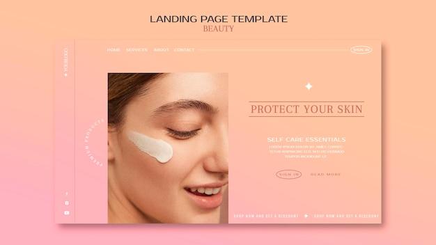Landingpage für hautpflegeprodukte