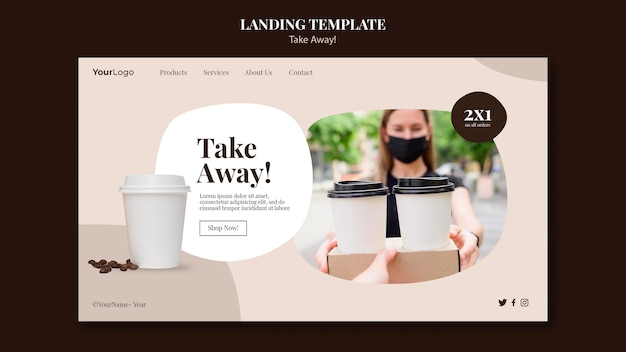 Landingpage für kaffee zum mitnehmen