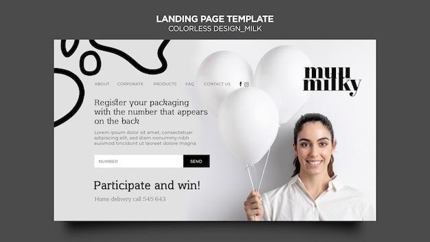 Landingpage für milch mit farblosem design