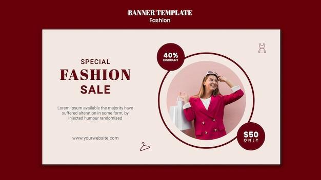 Landingpage für modeverkauf mit frau und einkaufstaschen