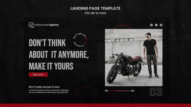 Landingpage für motorradagentur mit männlichem fahrer Premium PSD