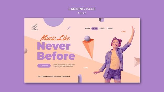 Landingpage für musik mit frau mit kopfhörern und tanzen