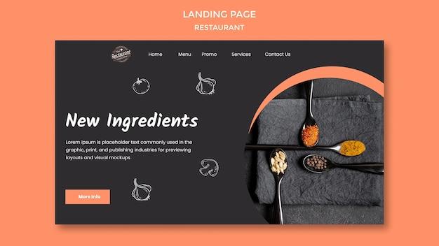 Landingpage für neue zutaten im restaurant