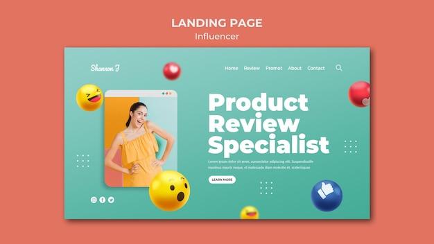 Landingpage für produktbewertungsspezialisten